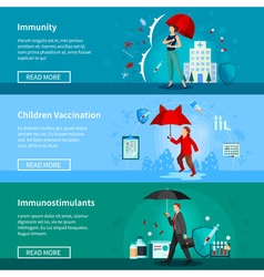 Immunity and vaccination banners set vector