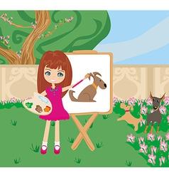 Little artist girl painting dog on large paper vector
