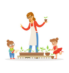 little girl and boy helping their teacher to care vector image