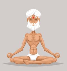 Meditation elderly old yoga master wisdom health vector
