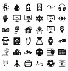 Mobile app icons set simple style vector