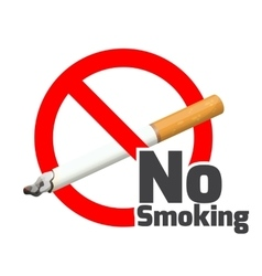 No smoking sign red alert symbol cross cigarette vector