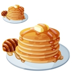 Pancakes with honey and butter cartoon vector