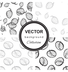 Pattern of hand-drawn leaves vector