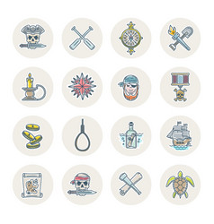 Pirates line icons set vector