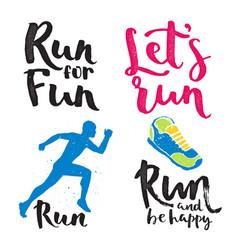 running man marathon logo jogging emblems label vector image vector image