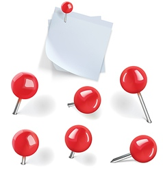 Set of red pushpins vector image vector image