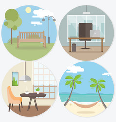 set of workplace and relax round web banners in vector image vector image