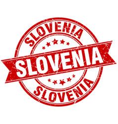 Slovenia red round grunge vintage ribbon stamp vector