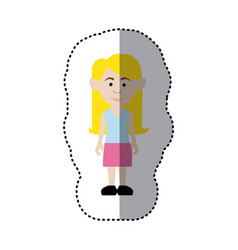 sticker colorful picture teenager with long hair vector image vector image
