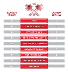 Tennis match statistics2 vector