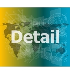 The word detail on digital screen business vector
