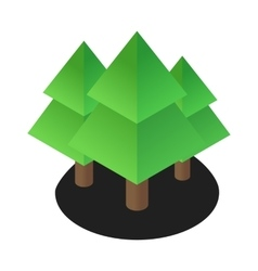 Three tree 3d isometric icon vector
