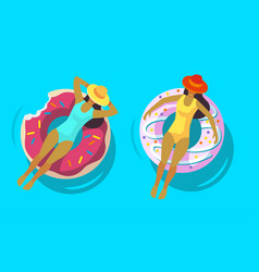 two girls swimming in pool with rubber ring vector image