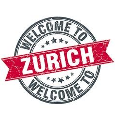 Welcome to zurich red round vintage stamp vector