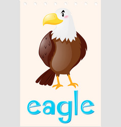 Wordcard with wild eagle vector