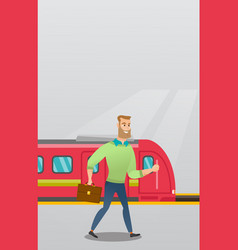 Young man walking on a railway station platform vector