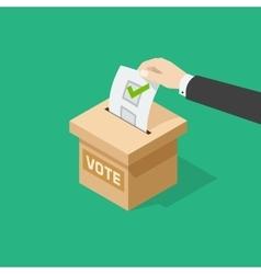 Voting man hand holding political ballot putting vector