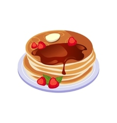 Pancakes with chocolate sauce breakfast food vector