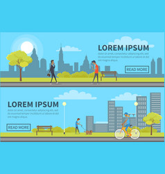 Web banner of people spending time in urban park vector