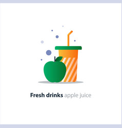 High glass with green apple refreshing fruit drink vector
