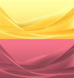 Set of yellou and rose waves vector image