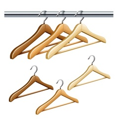 Wooden coat hangers vector