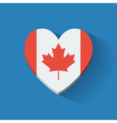 Heart-shaped icon with flag of canada vector