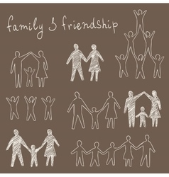 Family and friendship symbols set vector