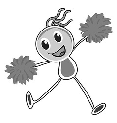 Little girl cheering with pom pom vector image