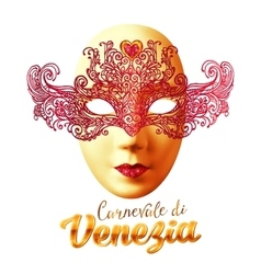 Golden carnival mask with red lacy top and vector