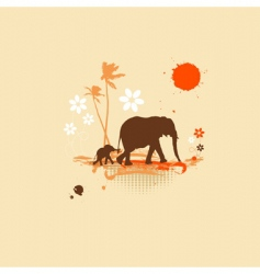 Family of elephants summer illustration vector