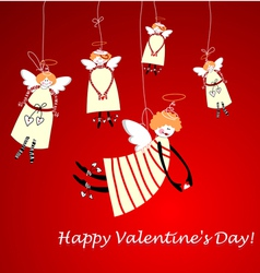 happy valentines day angels vector image