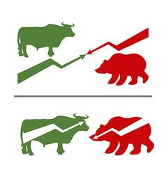 Bull and bear rise and fall of securities green vector