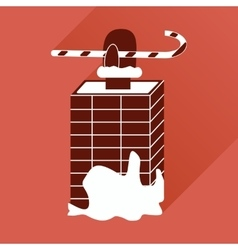 Flat icon with long shadow santa in the chimney vector