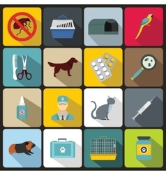 Veterinary icons set flat style vector