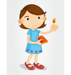 Girl with lighted match vector