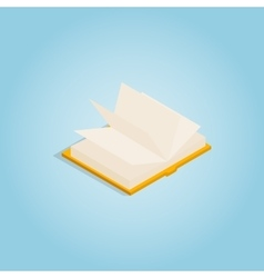 Yellow open book icon isometric 3d style vector