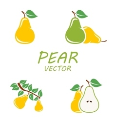 Flat pear icons set vector