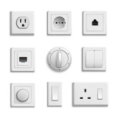 Switches sockets realistic set vector