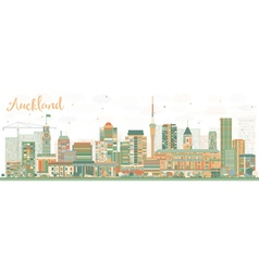 Abstract Auckland Skyline with Color Buildings vector image
