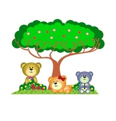 Bear family playing in the park vector image vector image
