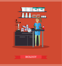 Biology concept in flat style vector