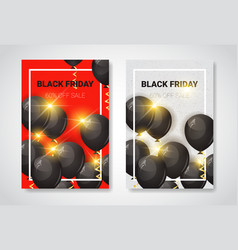 black friday sale posters set with air balloons vector image vector image
