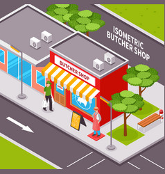 Butcher shop outside isometric design vector