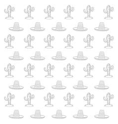 Cactus and sombrero pattern vector