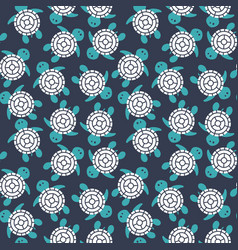 cartoon colorful turtles seamless pattern vector image