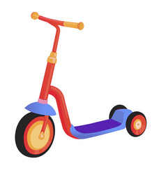 Cartoon cute color kick scooter push scooter vector