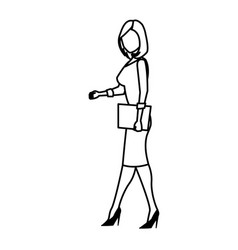 Character woman business holding folder work line vector