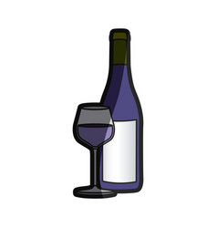color silhouette with bottle of wine and glass vector image vector image